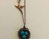 Handmade Wire Wrapped Copper Egg Nest with Bird, Turquoise, Ready to Ship