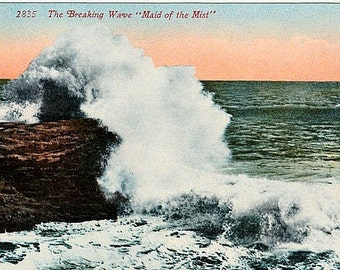 Antique Seascape Postcard - The Breaking Wave ... Maid of the Mist (Unused)