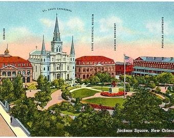 Vintage New Orleans Postcard - Jackson Square (Unused)