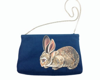 Crouching Cottontail purse - handpainted vintage mock-suede cobalt blue shoulder bag - one of a kind, vegan, upcycled, sustainable fashion