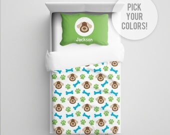 Puppy Bedding, Puppy Comforter/Duvet, Puppy Blanket, Puppy Nursery Bedding, Toddler Puppy Dog Bedding, Puppy Crib Bedding, Pick Your Color