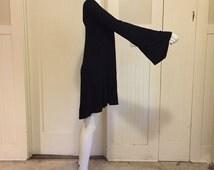 BELL SLEEVE black mini dress asymmetrical hi lo hem flared long sleeve witchy gothic avant garde tunic oversized layering stretch