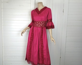 60s Peasant Dress-Hippie/ Boho/ Festival- Mexico- 1970s Magenta / Hot Pink- Crochet Lace, Bell Sleeves- 1960s
