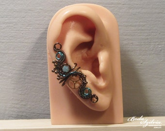 teal STEAMPUNK EAR CUFF - wire wrapped ear cuff, bronze & teal earcuff, steampunk jewelry, no piercing ear cuff, ooak jewelry, gear ear cuff