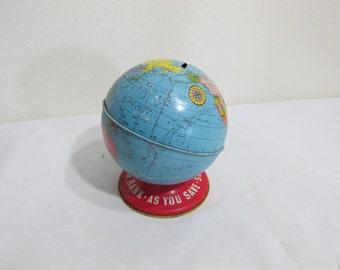 Tin Globe Bank by Ohio Art 5 Inches High
