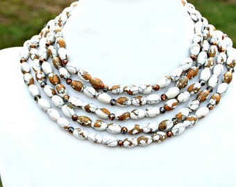 Leopard Jasper White Bronze Gold Long Lush Necklace Multi Style Wear Wrap Gemstone Necklace Boho Chic High Fashion Couture Flare Mei Faith