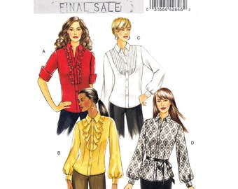 Womens Shirt Pattern Butterick 5284 Tuxedo Shirt Collar Tucked, Flounce or Ruffle Front Womens Blouse Pattern Size 16 18 20 22 Plus UNCUT