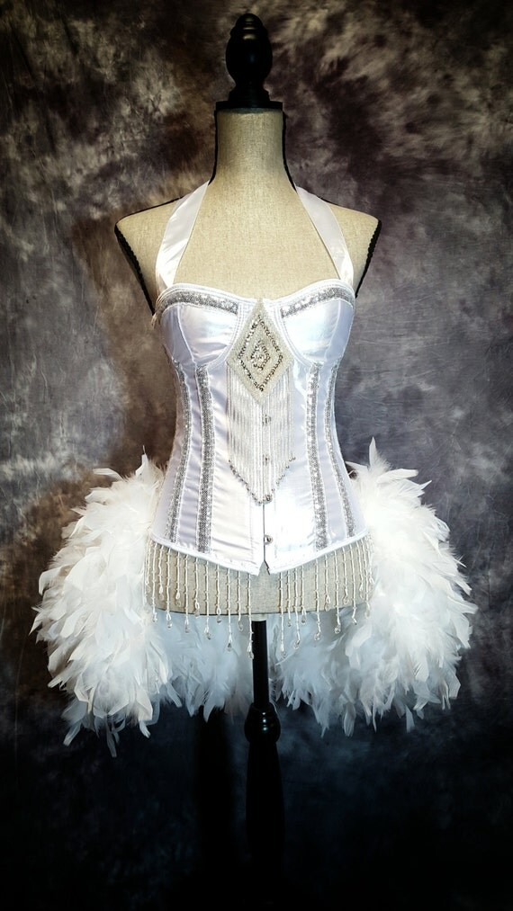 SNOW QUEEN Costume White Swan Wedding Corset with Silver Sequins and feather skirt