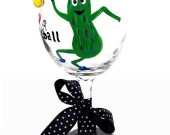 Pickleball, Wine Glass, Pickle, Pickleball wine glass, Player Gift, Pickleball Player Glass, Pickleball Fan, Unique, Pickleball, Green,Fan