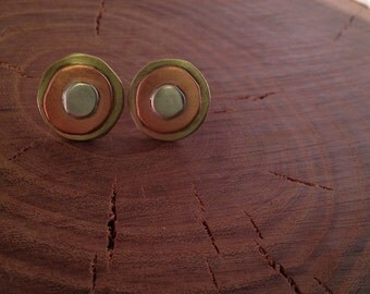 Organic trimetal post earrings
