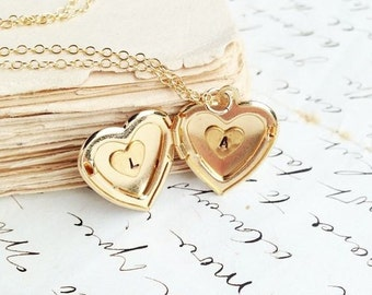 Gold Heart Locket Necklace,Initial Heart Locket,Personalized Necklace,Monogram Locket,Girlfriend Gift,Anniversary Gift,Gold Heart,