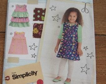2011 simplicity pattern 2063 girls childs dresses sz 3-4-5-6-7-8 uncut
