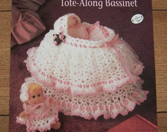Vintage 1991 Crochet pattern DOLLY Tote-Along BASSINET and CLOTHES