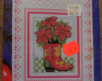 cross stitch pattern kit greetings Christmas card and envelope NIP cowboy boot pattern