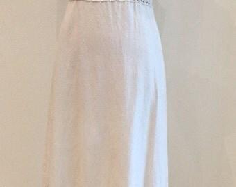 1970s Maxi Dress - Natural Muslin with Crochet Lace Insets - Bohemian Boho Wedding - Casual Backyard Wedding - Summer Maxi - 34 Bust