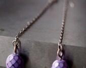 Super long, ultra chic silver and lilac purple Czech glass bead dangling earrings