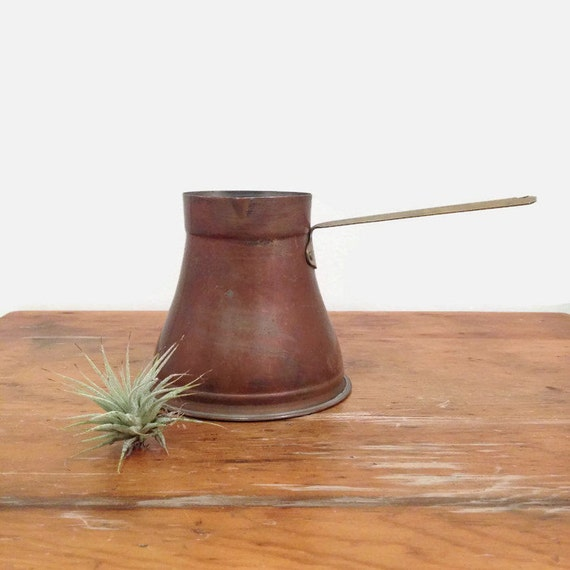 Small Copper Pot, Turkish Coffee or Milk Warmer, Vintage, Rustic, Patina