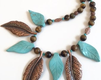 ON SALE Big Bold Chunky Necklace, Turquoise blue and copper leaf Necklace Earring Set