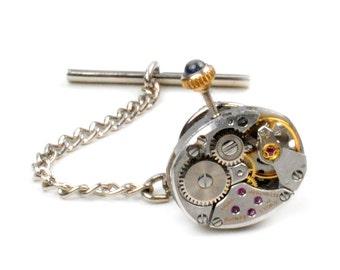 Vintage Zenith Watch Movement Tie Tack Pin Chain Clip