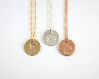 Zodiac Necklace - Gold Zodiac Necklace - Silver Zodiac Necklace - Horoscope Necklace - Rose Gold Zodiac Necklace - Zodiac Sign Symbol