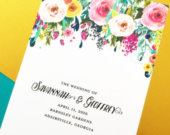 Wedding Program, Folded Wedding Programs, Wedding Order of Service, Wedding Party, BiFold Wedding Program, Sublime Watercolor Floral Program