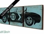 LARGE Kids Room Wall Art - Custom Print - Baby Boys Room Vintage Race Car Decor 16X48