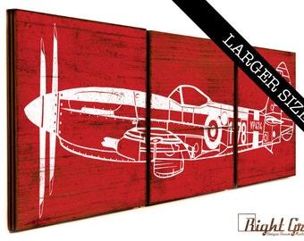 LARGE Custom Made Vintage Airplane on 3 Wood Panels - Boys Room Wall Art - 16x48