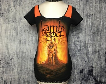 Lamb Of God Women's T-Shirt // Reconstructed T-Shirt // Size X-Small // Metal Music Alternative Goth Gothic Horror