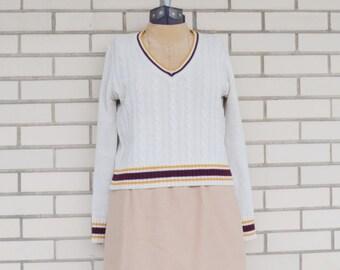 SALE-- Cream cable knit V-neck -- Bobbie Brooks