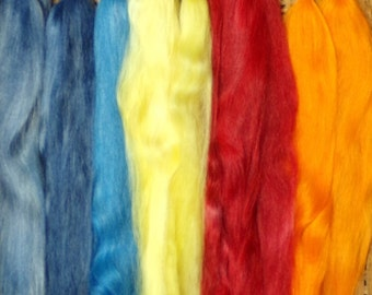 Combed Suri Alpaca Doll Hair 10-12 inches long 1 ounce Orange Bright Red Blue Darker Blue and Yellow