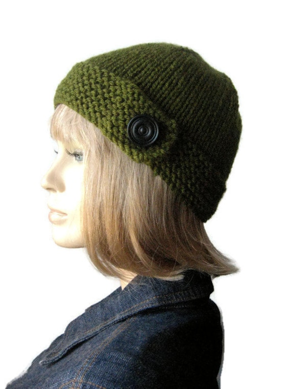Olive Green Button Tab Hat, Vegan Knit Beanie, Womens Accessories, Knit Cloche Hat, Winter Hat,The Clara Hat,