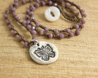 Crocheted Necklace with Brown Cord, Tiny Mauve Crystal Beads  and a Pendant with a Butterfly Design SN-167