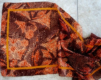 Vintage Scarf Abstract Print Danier Oblong Sheer Orange Brown Gold