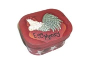 Hand Painted Rooster on Small Box | Egg Money Box
