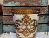Vintage Italian Florentine Wastebasket or Trash can Gold Gilt Made in Italy Shabby Chic Cream Florentia Mid Century Hollywood regency