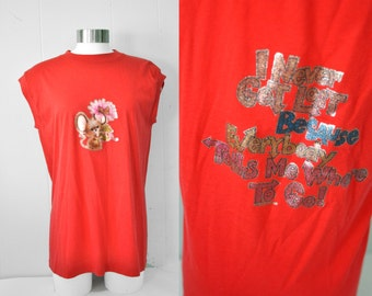 80s Sleeveless Tee Im Never Lost Vintage Tank Top Red TShirt Glitter Graphic Mouse Flower Mice Large