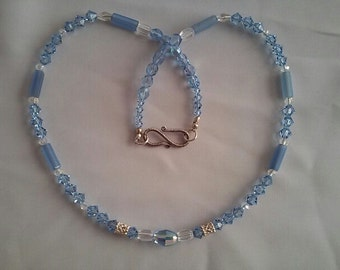 Swarovski light  blue crystal and sterling silver necklace