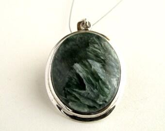 Seraphinite Pendant Sterling Silver With Natural Dark Olive Green And White Seraphinite Necklace Seraphinite Jewelry Iceberg Landscape