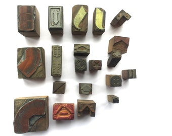 Wood And Metal Stamps - Mixed Set of 20 - Shapes Arrows And Other Stamps (Set 2)