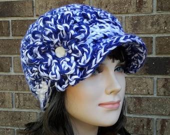 Crochet Womens Newsboy Hat, Crochet Womens Newsboy Cap, Womens Super bulky Hat, Wildcats team colors hat, Blue and White Billed Hat beanie