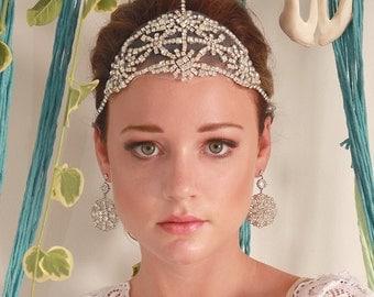 Famke Bohemian Bridal Headpiece, Gatsby Headpiece, Wedding Headpiece, Art Deco Headpiece, Wedding Hair Piece, 1920s style Crystal Headpiece
