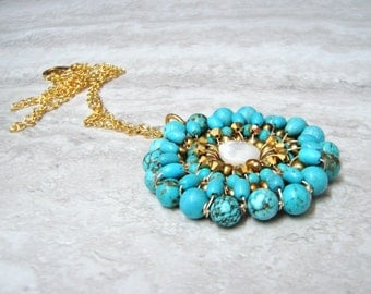 Long Turquoise Pendant -Large Chic Turquiose Pendant Necklace on Gold Chain Wire Wrapped by Sharona Nissan 4184