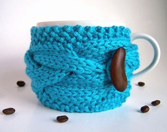 Coffee Cozy, Coffee Sleeve, Cup Cozy, Coffee Mug Cozy, Tea Cozy, Coffee Cup Cozy, Coffee Cup Sleeve, Coffee Mug Sleeve, Blue Turquoise