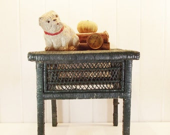Vintage Wood and Wicker Side Table Rattan Stool Green Chippy Paint