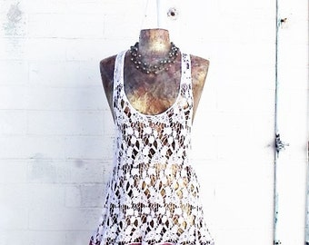 Small/Med Lace Babydoll Dress/Upcycled Clothing/ Summer Mini Dress/Lavender/Shabby Chic Dress/beach dress/Cream lace upcycled fairy dress