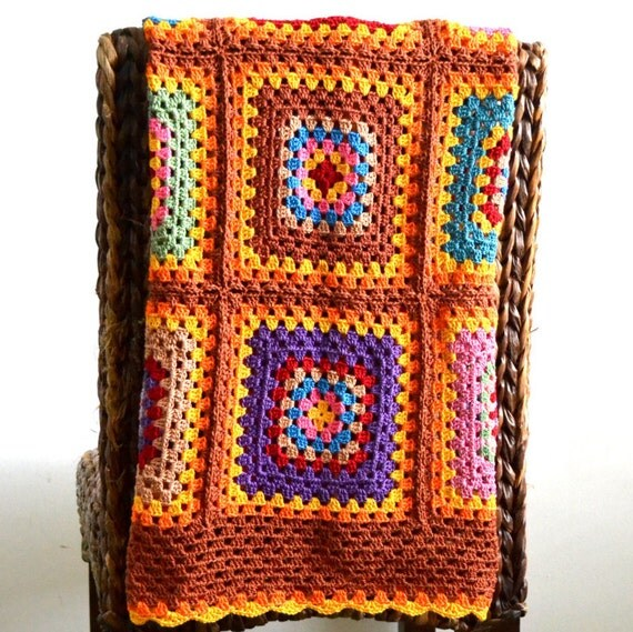Handmade Crochet 100 % Cotton Baby Children nursery blanket  / afghan granny squares 32 by 40 inch