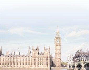London Photograph - Blue Skies over London, England Fine Art Photograph, Big Ben, Travel Home Decor, Large Wall Art