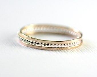 3 Skinny stacking rings, beaded ring, super skinny stacking set, skinny gold band, beaded band, Treads of Gold,  Skinny Stack set