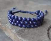Natural Faceted Blue Lapis Bracelet, Gemstone Cuff, Macrame Bracelet, Boho Jewelry, Friendship Bracelet