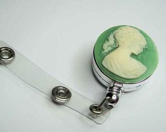 Victorian Green Cameo Retractable Badge Holder